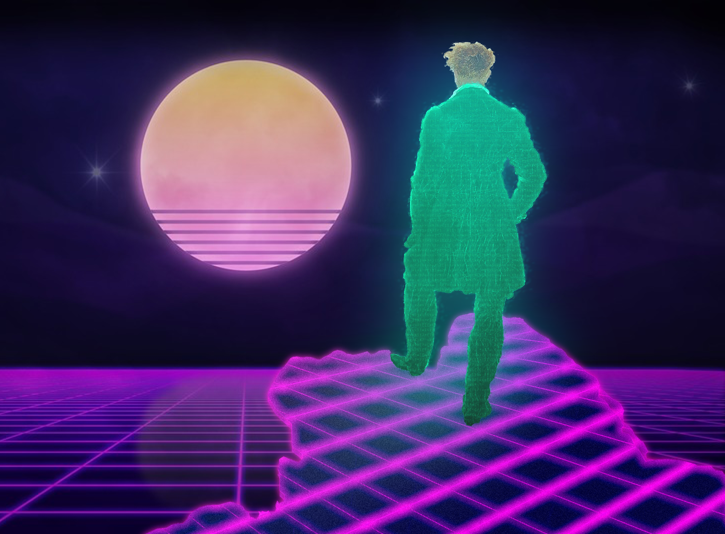 Wanderer above the Sea of Fog, Vaporwave style