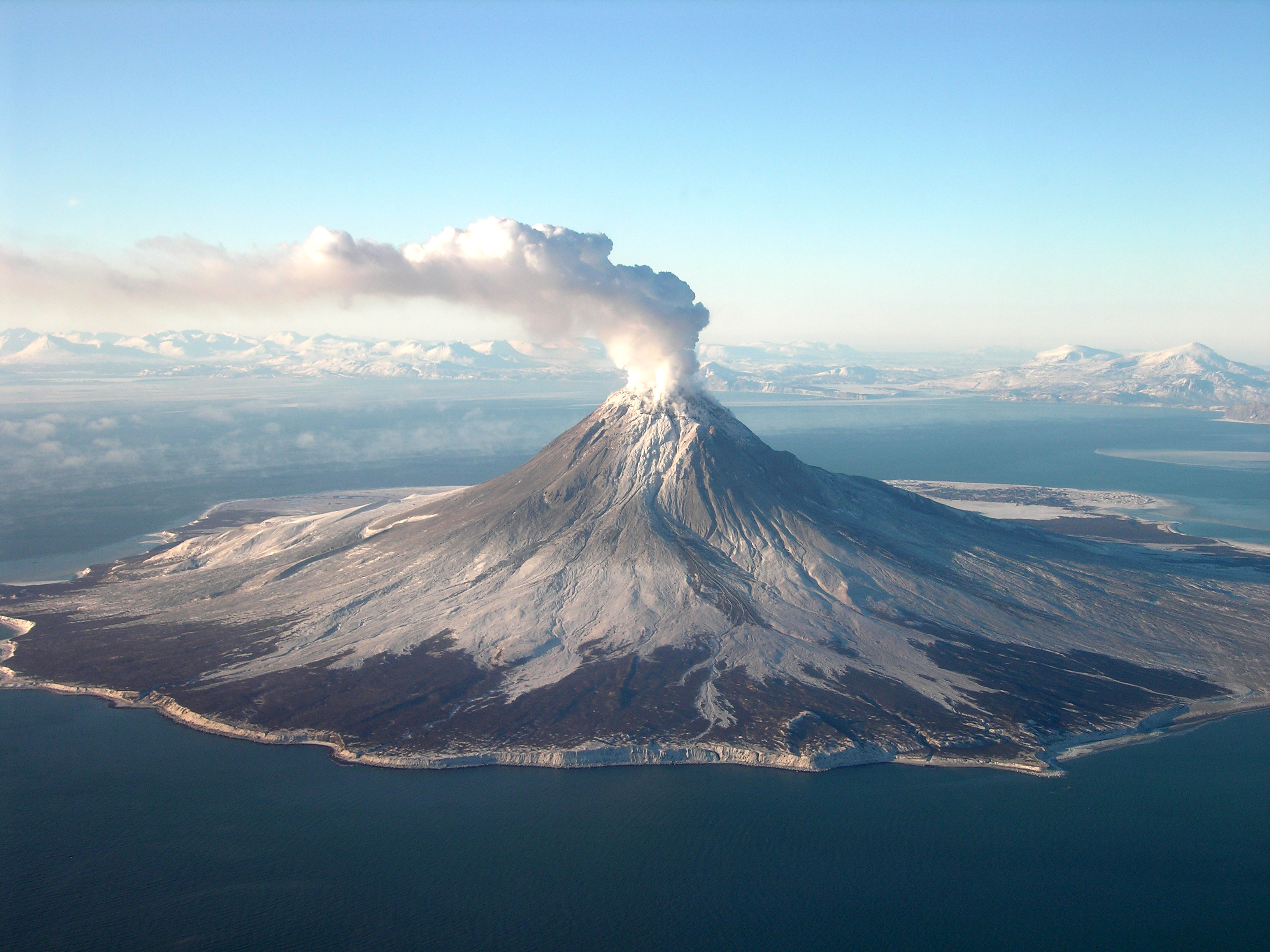 Augustine Volcano with smoke emitting from the top